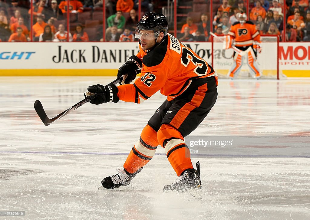 Mark Streit of the Philadelphia Flyers follows through on his shot in the second period against the Montreal Canadiens on October 11 2014 at the...