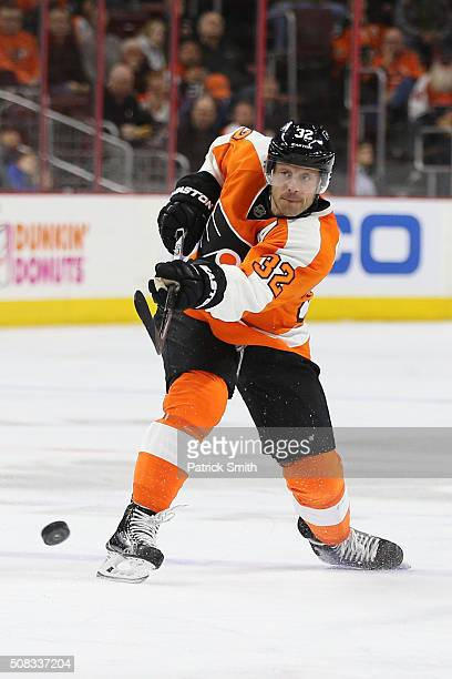 Mark Streit of the Philadelphia Flyers in action against the Montreal Canadiens during the second period at Wells Fargo Center on February 2 2016 in...