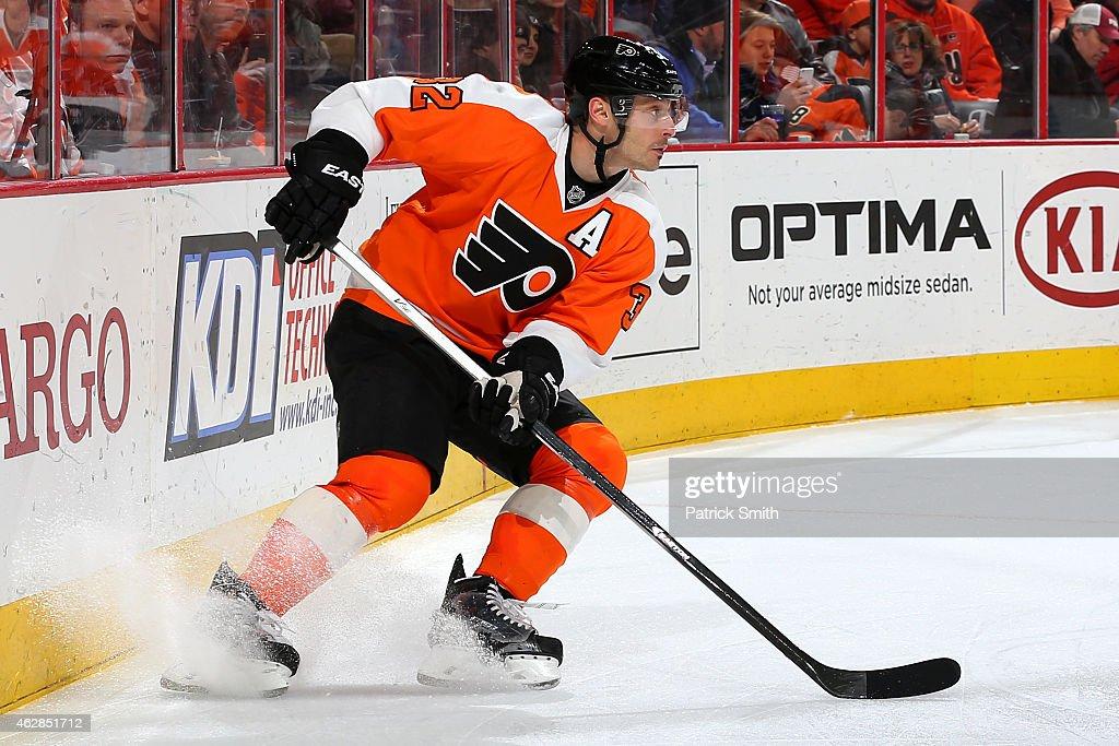 Mark Streit of the Philadelphia Flyers in action against the New York Islanders at Wells Fargo Center on February 5 2015 in Philadelphia Pennsylvania...