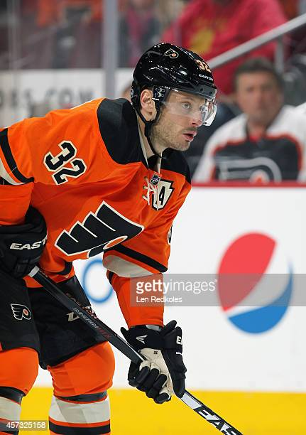 Mark Streit of the Philadelphia Flyers looks on against the Montreal Canadiens on October 11 2014 at the Wells Fargo Center in Philadelphia...