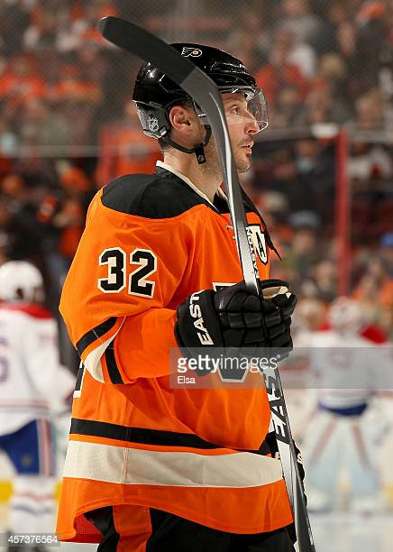Mark Streit of the Philadelphia Flyers looks on during a stop in play against the Montreal Canadiens on October 11 2014 at the Wells Fargo Center in...