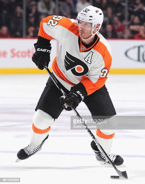 Mark Streit of the Philadelphia Flyers plays in the game against the Montreal Canadiens at the Bell Centre on November 15 2014 in Montreal Quebec...