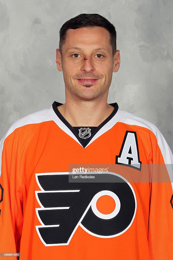 Mark Streit of the Philadelphia Flyers poses for his official headshot for the 20152016 season on September 18 2015 at the Virtua Flyers Skate Zone...