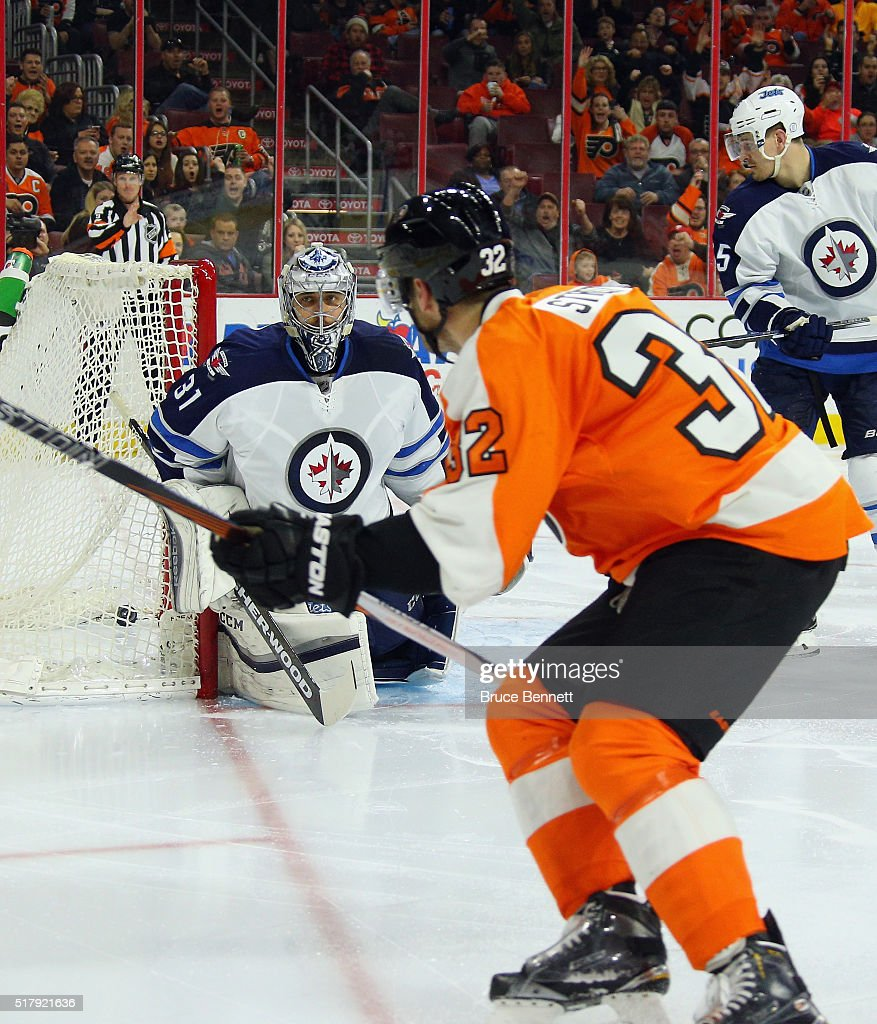 Mark Streit #32 of the Philadelphia Flyers scores at 41 seconds of the second period against Ondrej Pavelec #31 of the Winnipeg Jets at the Wells Fargo Center on March 28, 2016 in Philadelphia, Pennsylvania.