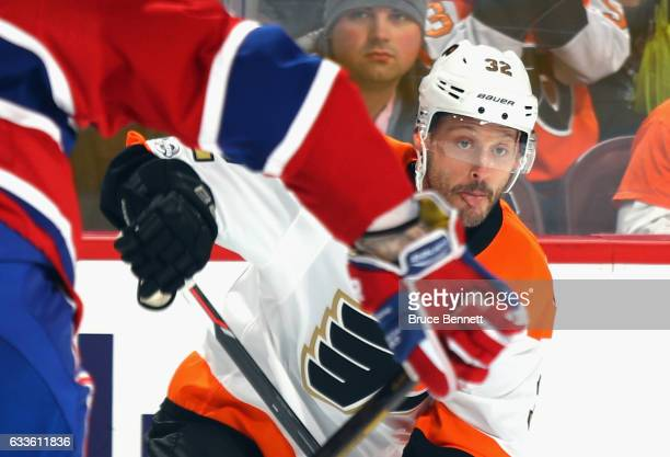 Mark Streit of the Philadelphia Flyers shoots the puck in against the Montreal Canadiens at the Wells Fargo Center on February 2 2017 in Philadelphia...