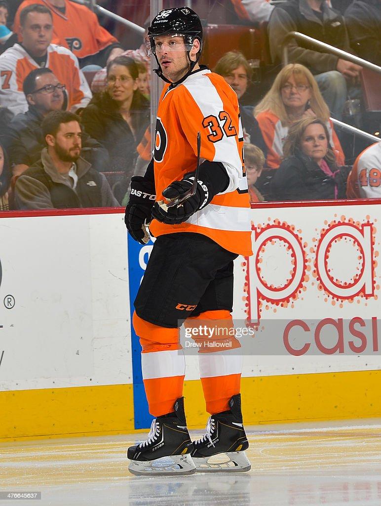 Mark Streit of the Philadelphia Flyers skates against the Calgary Flames at the Wells Fargo Center on February 8 2014 in Philadelphia Pennsylvania
