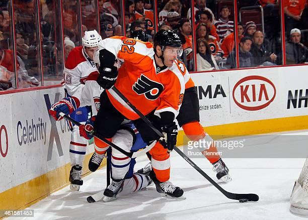 Mark Streit of the Philadelphia Flyers skates against the Montreal Canadiens at the Wells Fargo Center on January 8 2014 in Philadelphia Pennsylvania...