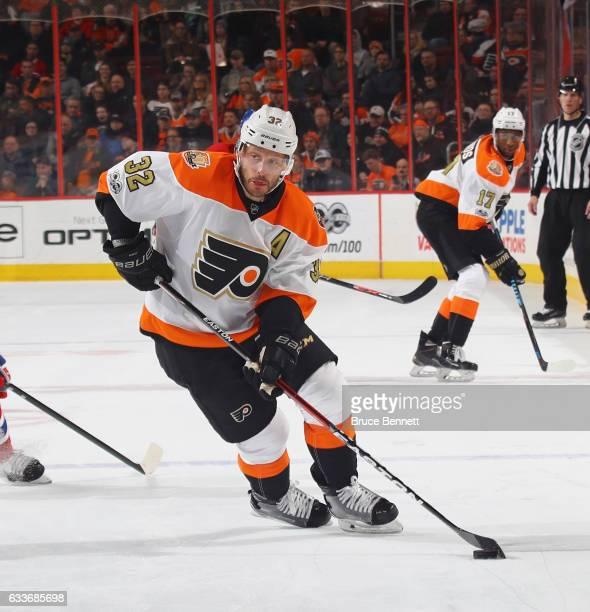 Mark Streit of the Philadelphia Flyers skates against the Montreal Canadiens at the Wells Fargo Center on February 2 2017 in Philadelphia...
