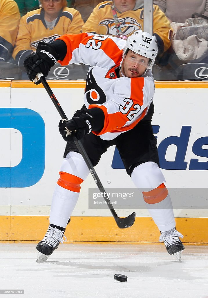 Mark Streit of the Philadelphia Flyers skates against the Nashville Predators at Bridgestone Arena on November 30 2013 in Nashville Tennessee