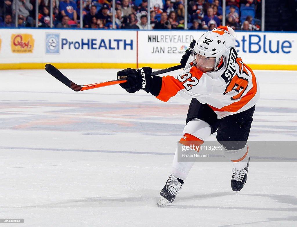 Mark Streit of the Philadelphia Flyers skates against the New York Islanders at the Nassau Veterans Memorial Coliseum on January 20 2014 in Uniondale...