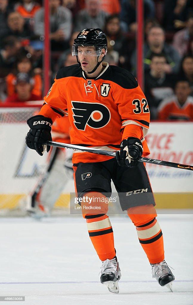 Mark Streit of the Philadelphia Flyers skates against the Ottawa Senators on April 11 2015 at the Wells Fargo Center in Philadelphia Pennsylvania