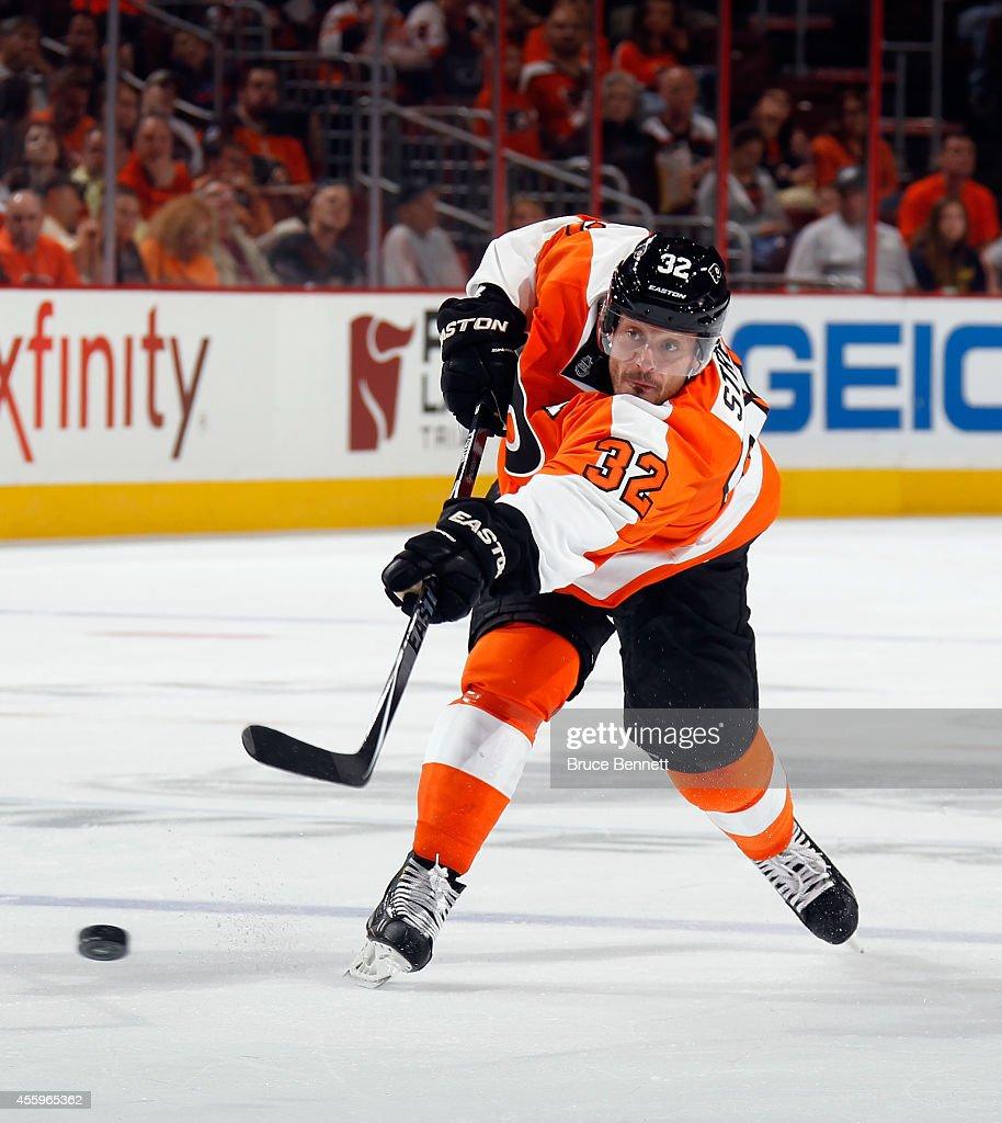 Mark Streit of the Philadelphia Flyers skates against the Washington Capitals at the Wells Fargo Center on September 22 2014 in Philadelphia...