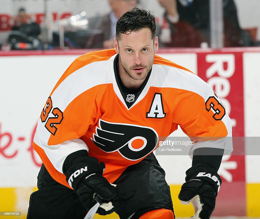 Mark Streit of the Philadelphia Flyers skates during warmups prior to his game against the Carolina Hurricanes on April 9 2015 at the Wells Fargo...