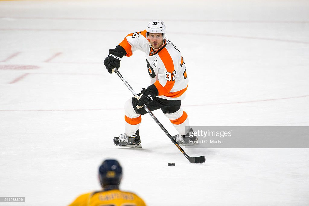 Mark Streit of the Philadelphia Flyers skates with the puck against the Nashville Predators during a NHL game at Bridgestone Arena on February 4 2016...