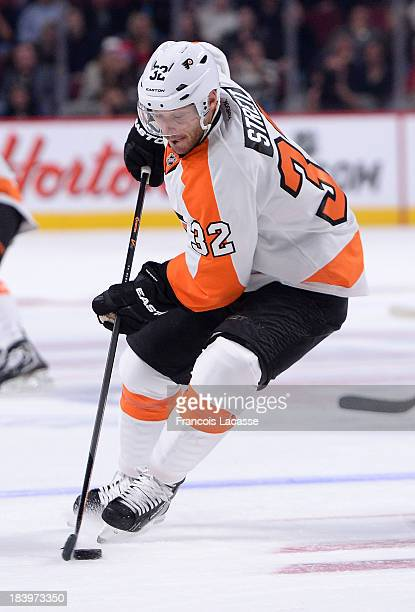 Mark Streit of the Philadelphia Flyers skates with the puck during the NHL game against the Montreal Canadiens on October 5 2013 at the Bell Centre...