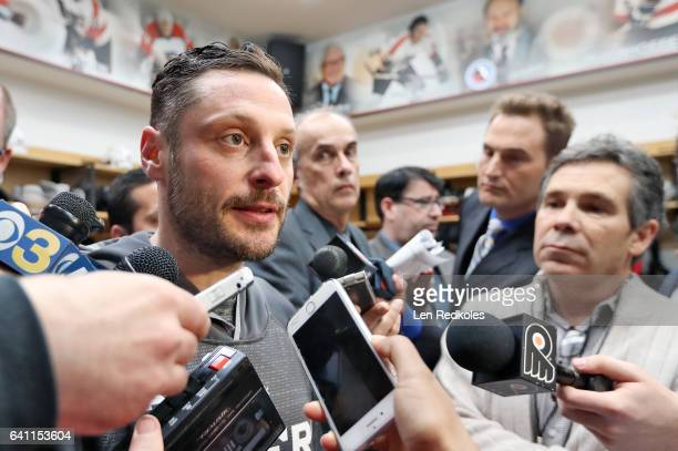 Mark Streit of the Philadelphia Flyers speaks to the media after defeating the Montreal Canadiens 31 on February 2 2017 at the Wells Fargo Center in...