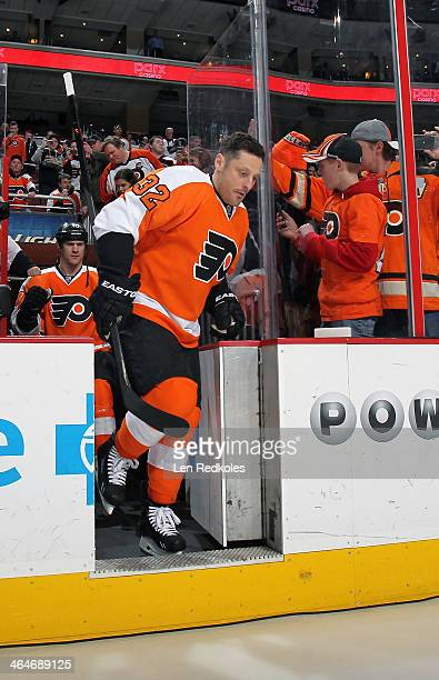 Mark Streit of the Philadelphia Flyers steps on the ice for the pregame warmups against the Montreal Canadiens on January 8 2014 at the Wells Fargo...