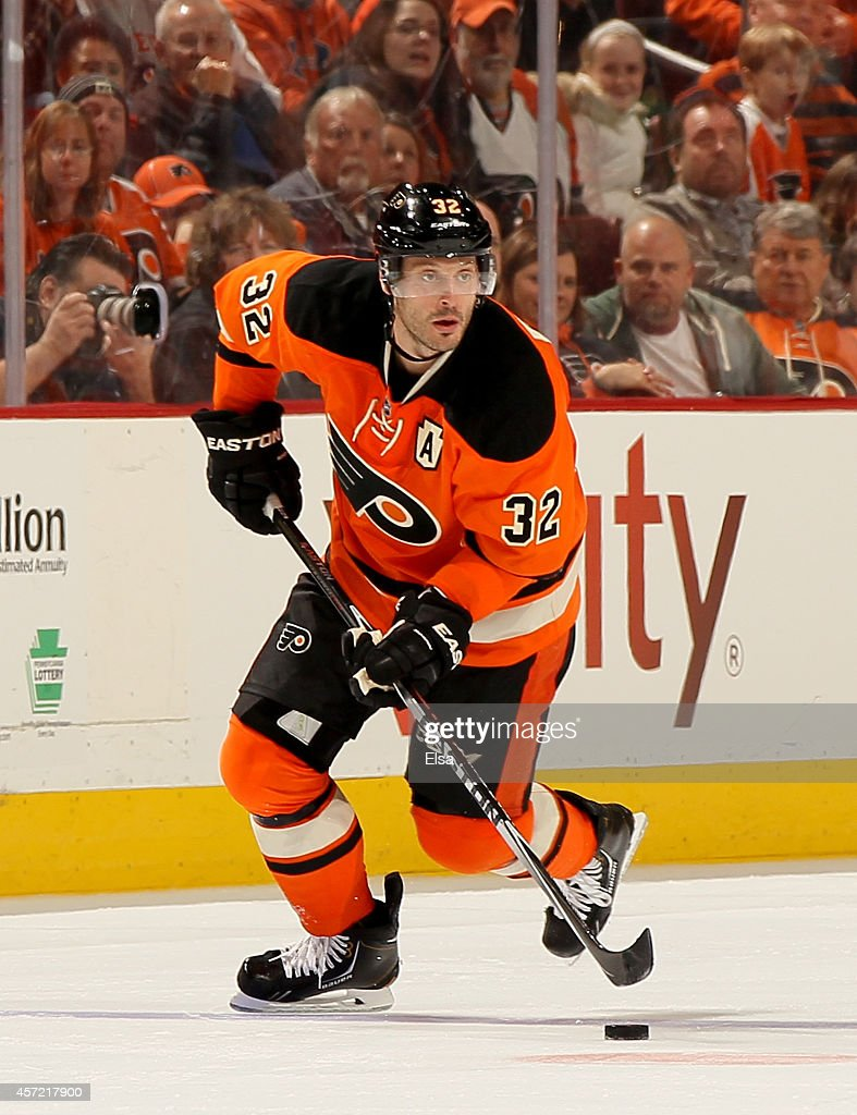 Mark Streit of the Philadelphia Flyers takes the puck against the Montreal Canadiens on October 11 2014 at the Wells Fargo Center in Philadelphia...