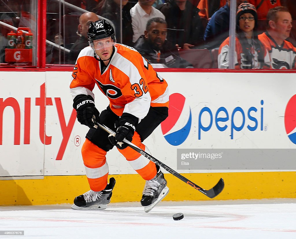 Mark Streit of the Philadelphia Flyers takes the puck against the Buffalo Sabres on October 27 2015 at the Wells Fargo Center in Philadelphia...