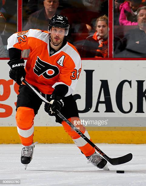 Mark Streit of the Philadelphia Flyers takes the puck against the Montreal Canadiens at the Wells Fargo Center on January 5 2016 in Philadelphia...