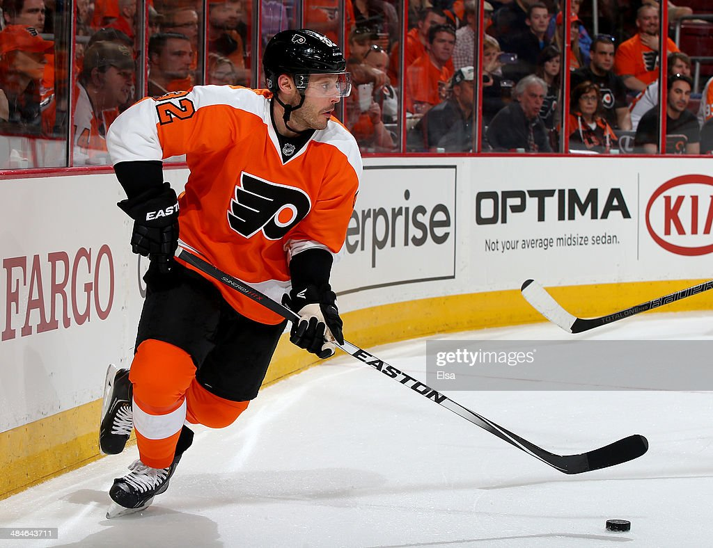 <a gi-track='captionPersonalityLinkClicked' href=/galleries/search?phrase=Mark+Streit&family=editorial&specificpeople=636976 ng-click='$event.stopPropagation()'>Mark Streit</a> #32 of the Philadelphia Flyers takes the puck in the first period against the Carolina Hurricanes at Wells Fargo Center on April 13, 2014 in Philadelphia, Pennsylvania.