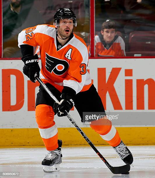 Mark Streit of the Philadelphia Flyers takes the puck in the first period against the Montreal Canadiens at the Wells Fargo Center on January 5 2016...