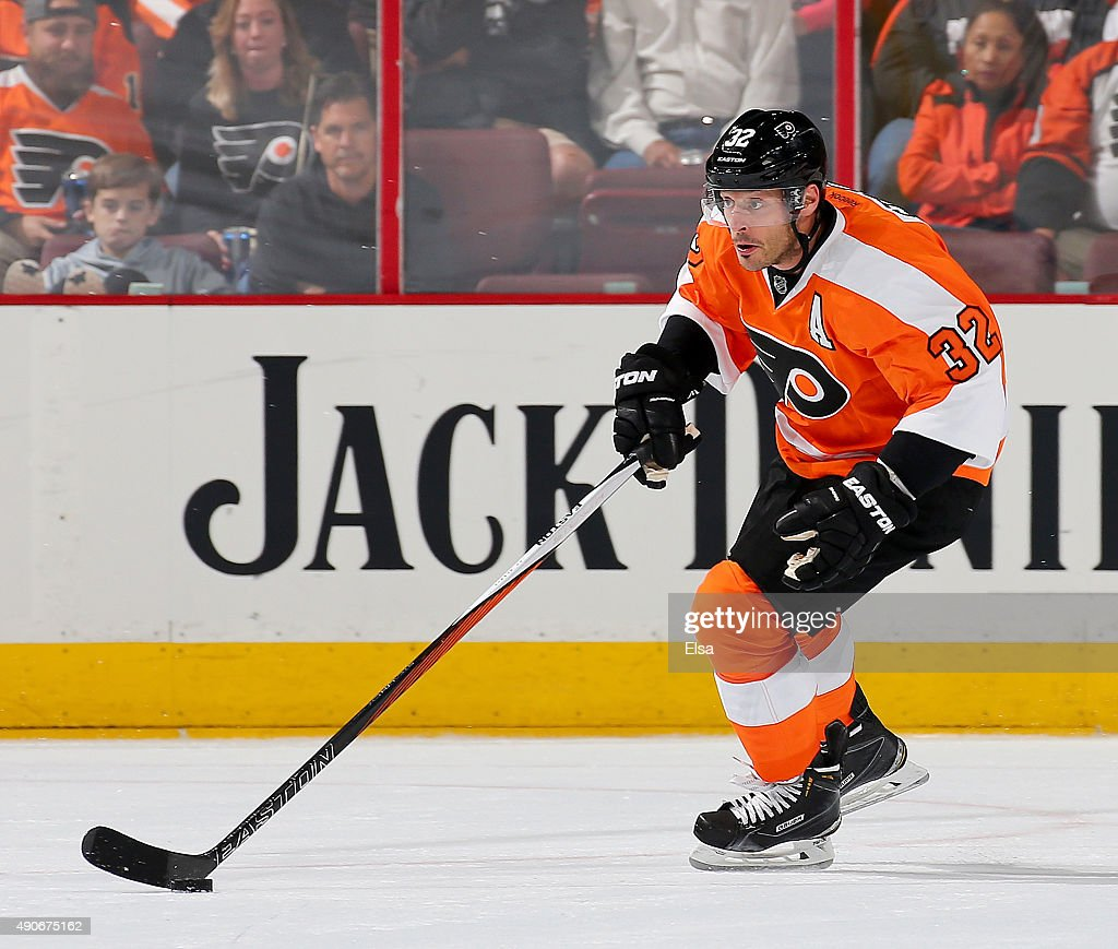 Mark Streit of the Philadelphia Flyers takes the puck in the second period against the New York Rangers on April 7 2015 at the Wells Fargo Center in...