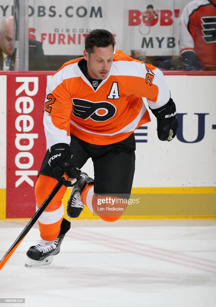 Mark Streit of the Philadelphia Flyers warms up prior to his game against the New York Rangers on October 24 2013 at the Wells Fargo Center in...
