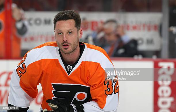 Mark Streit of the Philadelphia Flyers warms up prior to his game against the Montreal Canadiens on December 12 2013 at the Wells Fargo Center in...