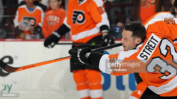 Mark Streit of the Philadelphia Flyers warms up prior to his game against the Montreal Canadiens on January 8 2014 at the Wells Fargo Center in...