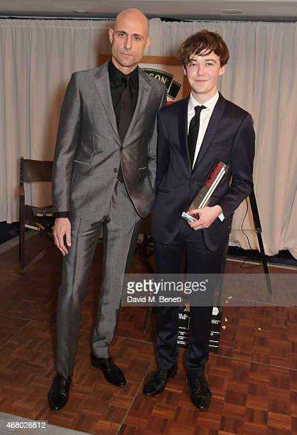 Mark Strong and Alex Lawther accepting the Best Thriller award on behalf of 'The Imitation Game' pose in the Winners Room at the Jameson Empire...