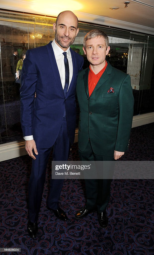 Mark Strong (L) and Martin Freeman arrive at the Jameson Empire Awards 2013 at The Grosvenor House Hotel on March 24, 2013 in London, England.