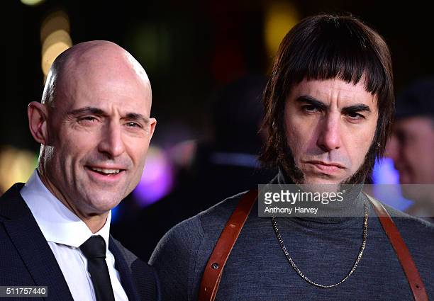 Mark Strong and Sacha Baron Cohen attend the World premiere of 'Grimsby' at Odeon Leicester Square on February 22 2016 in London England