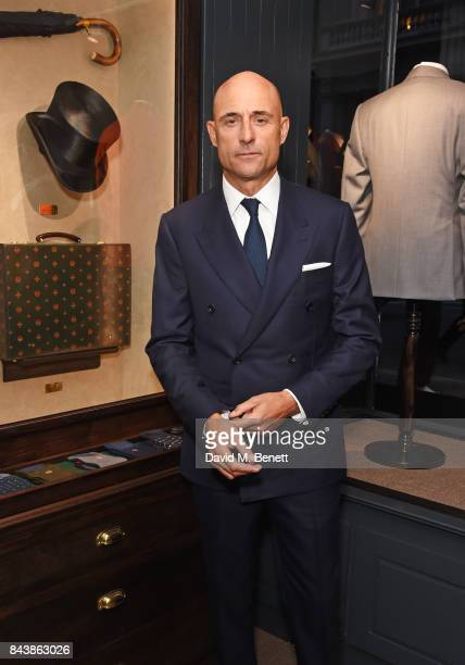 Mark Strong attends the launch of the 'Kingsman' shop on St James's Street in partnership with MR PORTER MARV Twentieth Century Fox in celebration of...