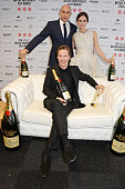 Mark Strong Benedict Cumberbatch winner of The Variety Award and Keira Knightley pose at The Moet British Independent Film Awards 2014 at Old...