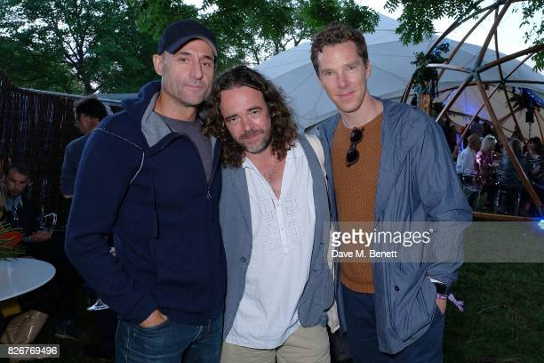 Mark Strong Jamie Byng and Benedict Cumberbatch at the Veuve Clicquot Champagne Bar Wilderness Festival on August 5 2017 in UNSPECIFIED United Kingdom