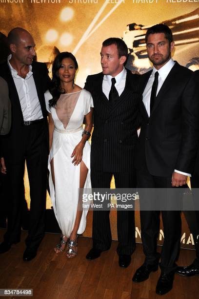 Mark Strong Thandie Newton Guy Ritchie and Gerard Butler arrive for the UK Film Premiere of RocknRolla at the Odeon West End Cinema Leicester Square...