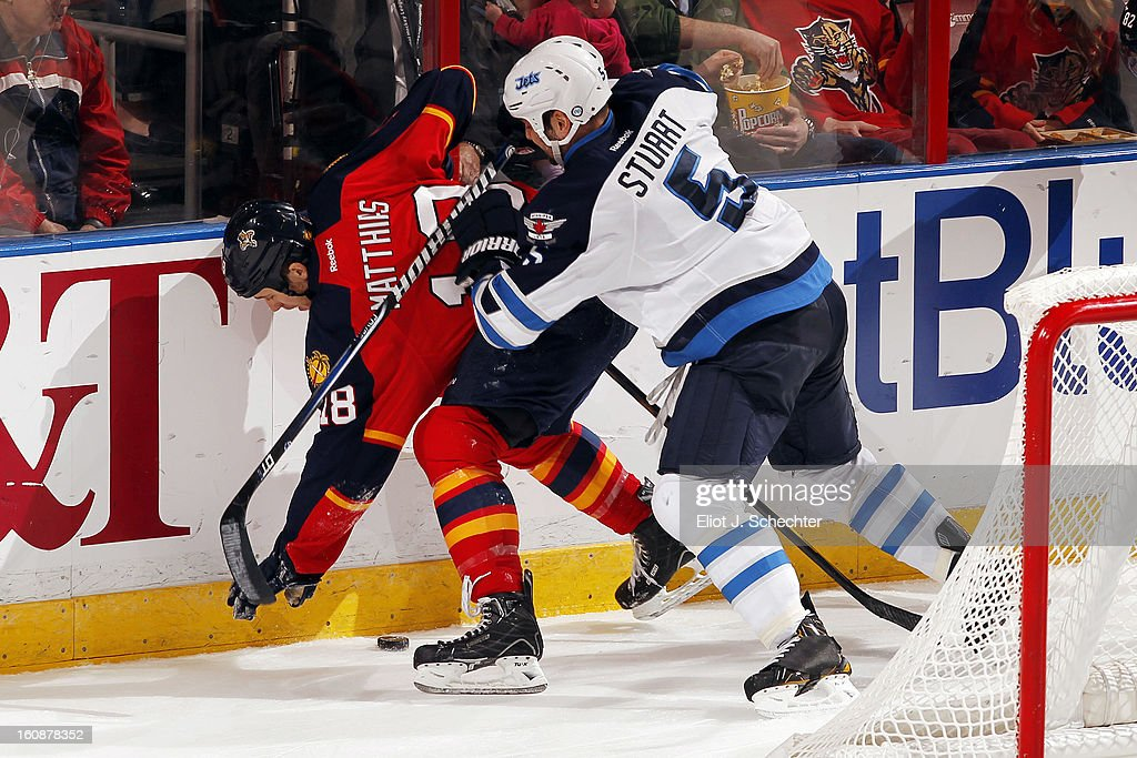 Mark Stuart #5 of the Winnipeg Jets tangles with Shawn Matthias #18 of the Florida Panthers at the BB&T Center on January 31, 2013 in Sunrise, Florida.