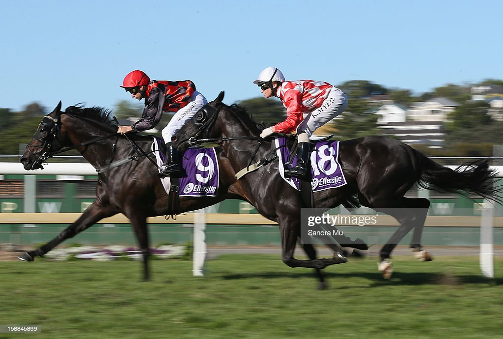 Mark Sweeney riding Rochallen (L) and Kelly Myers riding Le Moussier race during the Lindauer City of Auckland Cup at Ellerslie Racecourse on January 1, 2013 in Auckland, New Zealand.