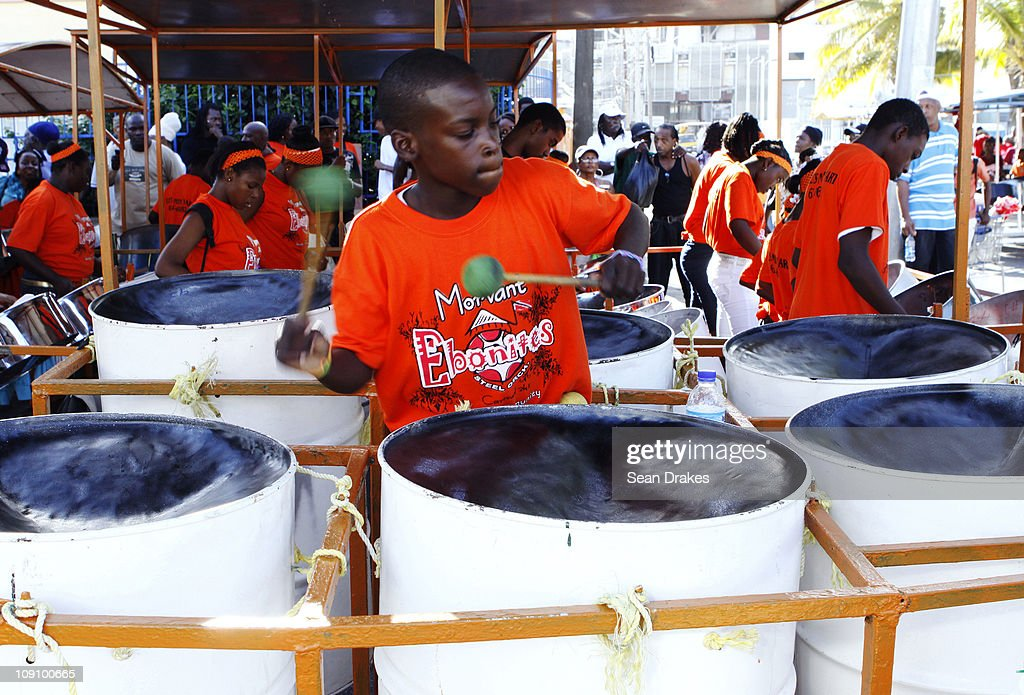 Mark Swift rehearses with the Morvant Ebonites Steel Orchestra for the National Small Medium Preliminaries steelband competition at Victoria Square...