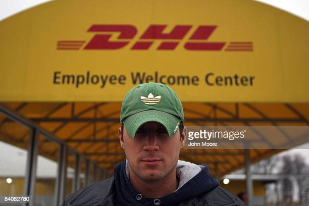Mark Szelagiewicz stands at the DHL airport hub entrance just moments after he was layedoff December 18 2008 in Wilmington Ohio Wilmington a town of...
