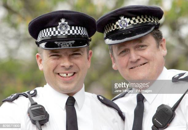 PC Mark Tabram left and Sergeant John Keane pose for the press The police officers delivered a baby girl Leah Elizabeth Pacheco outside Ealing Police...