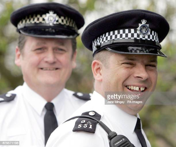 PC Mark Tabram right and Sergeant John Keane pose for the press The police officers delivered a baby girl Leah Elizabeth Pacheco outside Ealing...