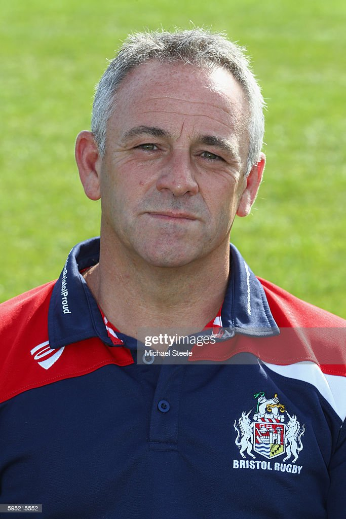 Mark Tainton Kicking Consultant poses for a portrait during the Bristol Rugby squad photo call for the 20162017 Aviva Premiership Rugby season on...