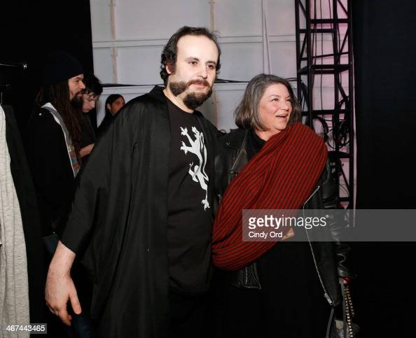 Mark Tango and Mindy Cohn prepare backstage at the Mark And Estel fashion show during MercedesBenz Fashion Week Fall 2014 at The Salon at Lincoln...