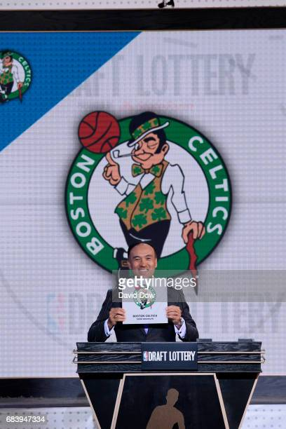Mark Tatum Deputy Commissioner of the NBA announces the 1st pick to the Boston Celtics during the 2017 NBA Draft Lottery at the New York Hilton in...