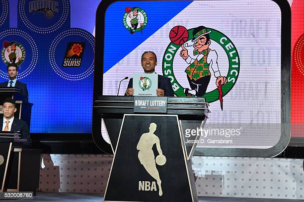 Mark Tatum NBA's deputy commissioner announces the Boston Celtics as the pick during the 2016 NBA Draft Lottery at the New York Hilton in New York...