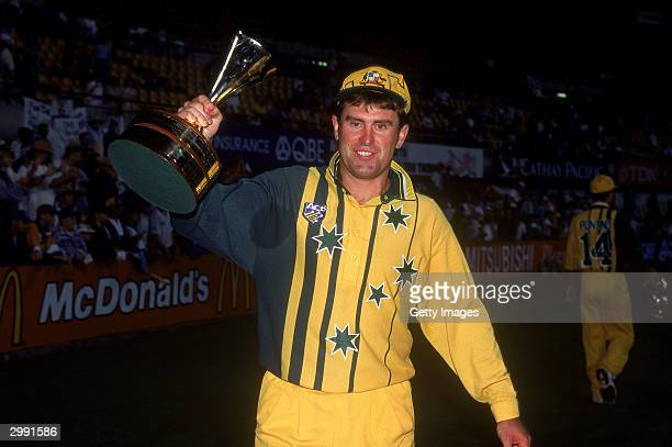 Mark Taylor of Australia celebrates victory after the One Day International Final played between Australia and Sri Lanka held at the Sydney Cricket...