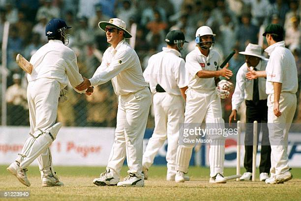 Mark Taylor of Australia congratulates Sourav Ganguly of India after India's victory during a Test Match between India and Australia held in Delhi...