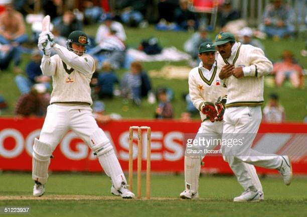 Mark Taylor of Australia in action during the 2nd Test match between Australia and Pakistan at the Bellerive Oval November 17 1995 in Hobart Australia